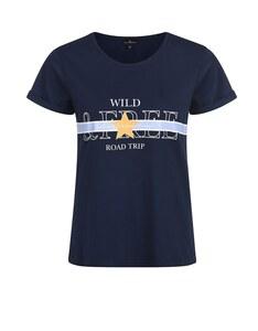 Via Cortesa - Basic-Shirt mit Frontdruck aus reiner Baumwolle