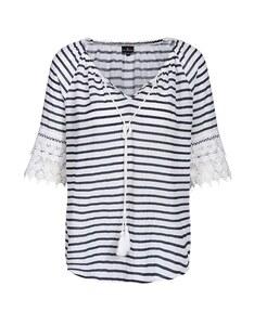Via Cortesa - gestreiftes Blusenshirt mit Spitze aus reiner Baumwolle