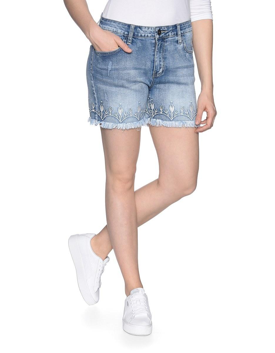 Bild 1 von My Own - Jeans-Shorts mit Stickerei und Fransensaum