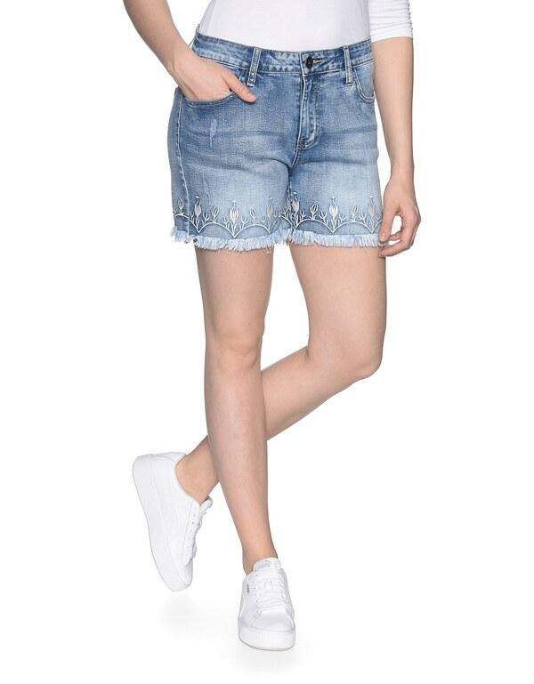 My Own - Jeans-Shorts mit Stickerei und Fransensaum