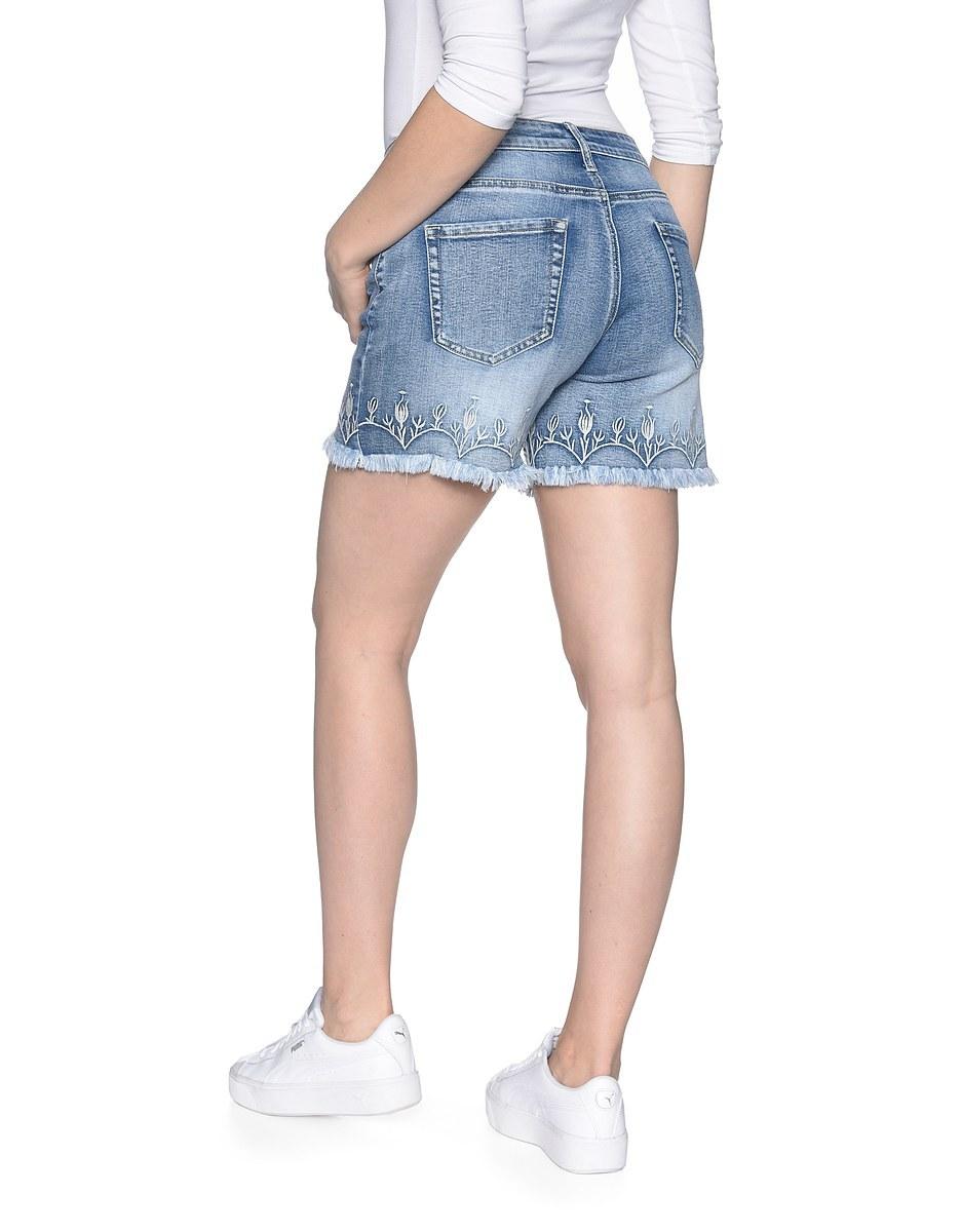 Bild 2 von My Own - Jeans-Shorts mit Stickerei und Fransensaum