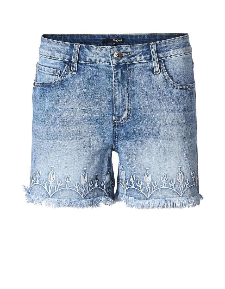 Bild 3 von My Own - Jeans-Shorts mit Stickerei und Fransensaum