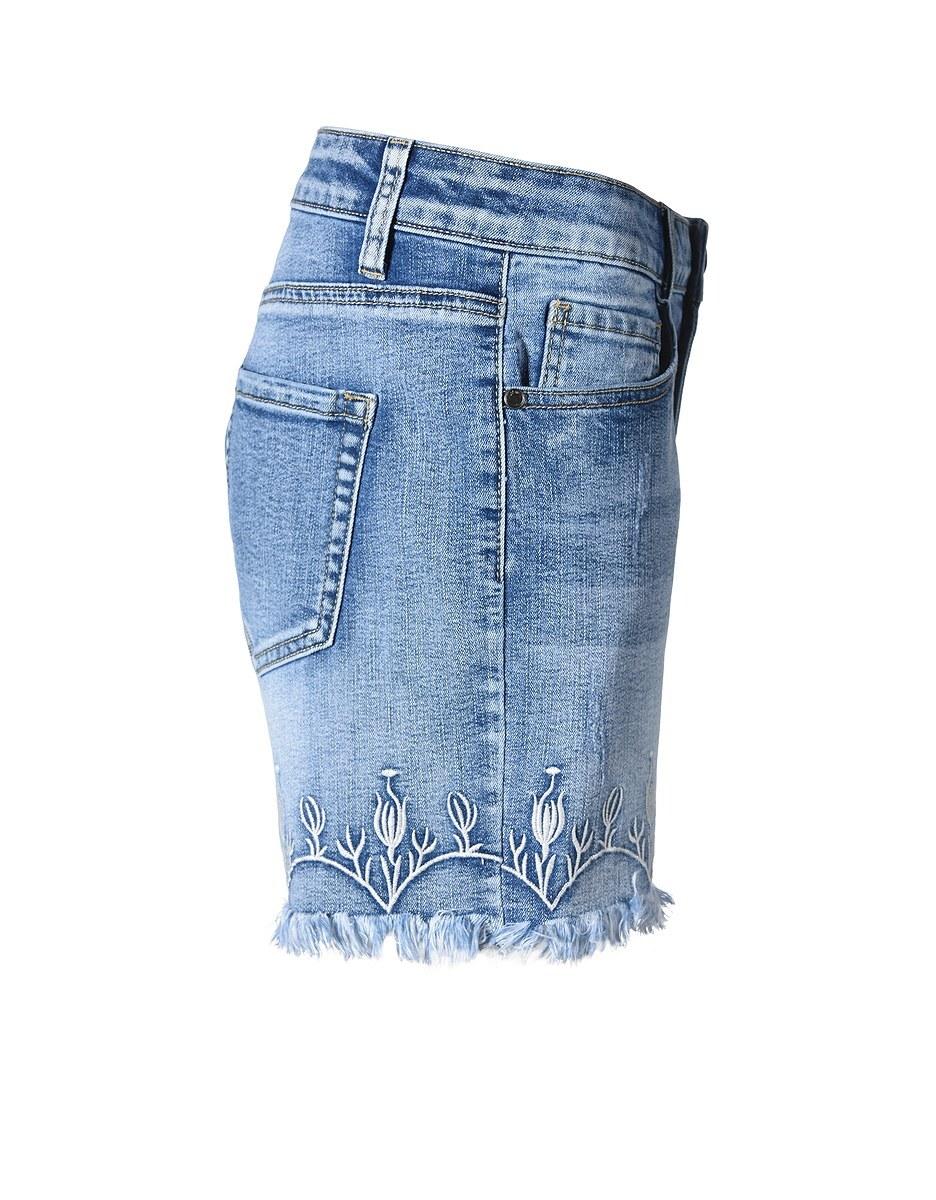 Bild 4 von My Own - Jeans-Shorts mit Stickerei und Fransensaum