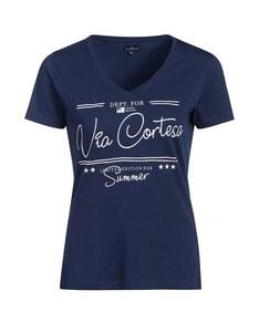 Via Cortesa - Basic-Shirt mit Frontprint aus reiner Baumwolle