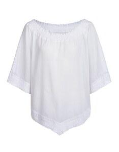 Via Cortesa - Poncho-Bluse mit Häkelbordüre aus reiner Baumwolle