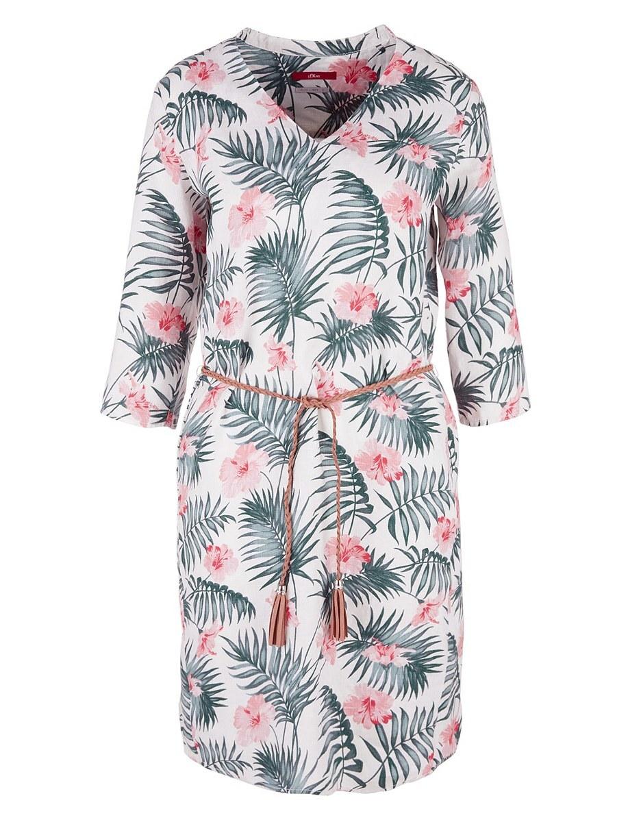 Bild 1 von s. Oliver - Leinenkleid mit floralem Print