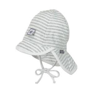 Mütze mit Nackenschutz Ringel grau