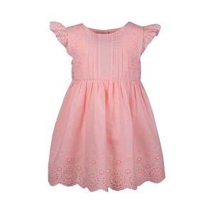 Kleid Flügelarm Lochstickerei rosa