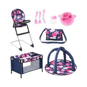 Puppen-Zubehör Reisebett Travel Set 9 in 1 dunkelblau/pink/rosa