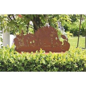 Ferrum Art Design Deko-Figur Igelfamilie auf Platte 20 cm Edelrost