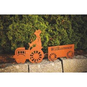 Ferrum Art Design Traktorschild Willkommen 43 cm Edelrost