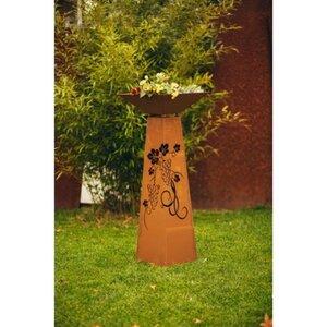 Ferrum Art Design Deko-Skulptur Säule Trapez Traubenmuster 116,5 cm Edelrost
