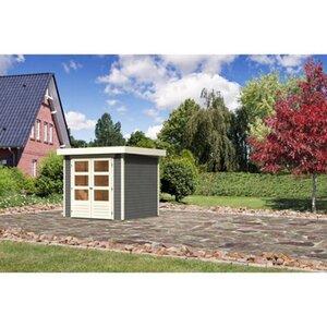 Karibu (Modul-) Holz-Gartenhaus Raala 2 Tür modern Terragrau BxT: 213x217cm