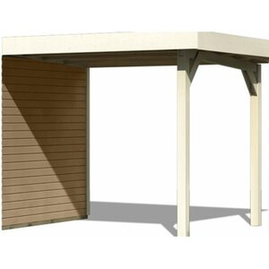 Karibu Schleppdach für (Modul-) Holz-Gartenhaus Raala Elfenbeinweiß Breite 240cm
