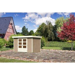 Karibu (Modul-) Holz-Gartenhaus Raala 4 Tür modern Sandbeige BxT: 302x217cm
