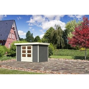 Karibu (Modul-) Holz-Gartenhaus Raala 4 Tür modern Terragrau BxT: 302x217cm