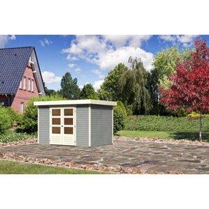 Karibu (Modul-) Holz-Gartenhaus Raala 4 Tür modern Seidengrau BxT: 302x217cm