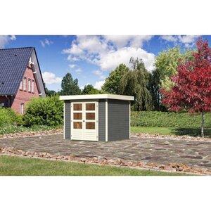 Karibu (Modul-) Holz-Gartenhaus Raala 3 Tür modern Terragrau BxT: 242x217cm