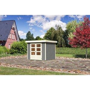 Karibu (Modul-) Holz-Gartenhaus Raala 3 Tür modern Seidengrau BxT: 242x217cm