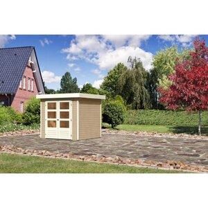 Karibu (Modul-) Holz-Gartenhaus Raala 2 Tür modern Sandbeige BxT: 213x217cm