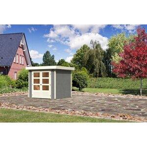 Karibu (Modul-) Holz-Gartenhaus Raala 2 Tür modern Seidengrau BxT: 213x217cm