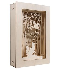 Rayher Holzbausatz 3D-Motivrahmen Wald, 20 x 30 x 6,6 cm, 15-teilig