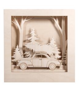 Rayher Holzbausatz 3D-Motivrahmen Auto, 30 x 30 x 6,6 cm, 14-teilig