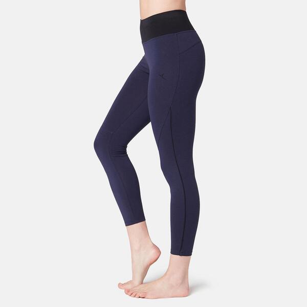 7/8-Leggings 510 Gym & Pilates Damen marineblau/schwarz