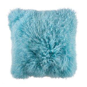 Lammfell Kissen 40x40 cm hellblau