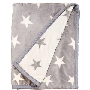 Flanell-Decke Sterne 150x200cm grau-weiß