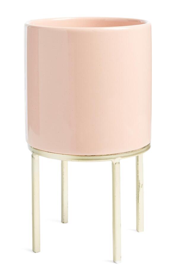 Rosafarbener Keramikblumentopf
