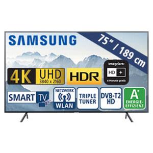 """75""""-Ultra-HD-LED-TV UE75RU7099 • HbbTV • 3 HDMI-/2 USB-Eingänge, CI+ • 20 Watt RMS • Stand-by: 0,5 Watt, Betrieb: 154 Watt • Maße: H 96,6 x B 168,5 x T 6 cm • Energie-Effizienz A+ (Spek"""