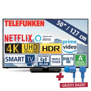 "50""-Ultra-HD-LED-TV D50U550N4CWH • HbbTV • 3 HDMI-/2 USB-Anschlüsse, CI+ • 2 x 10 Watt RMS • Stand-by: 0,5 Watt, Betrieb: 71 Watt • Maße: H 65,6 x B 113 x T 8,2 cm • Energie-Effizienz A"