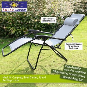 Solax-Sunshine Camping Relaxstuhl, hellgrau