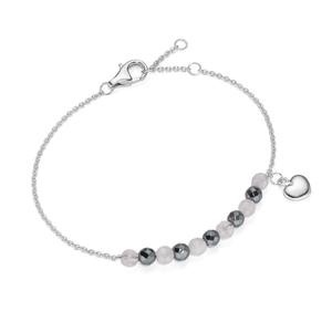 Smart Jewel Armband Hämatit- und Rosenquarz-Kugeln und Herz