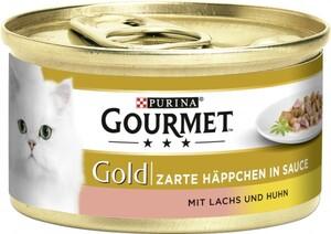 Purina Gourmet Katzenfutter Gold Zarte Häppchen in Sauce mit Lachs & Huhn ,  Inhalt: 85 g