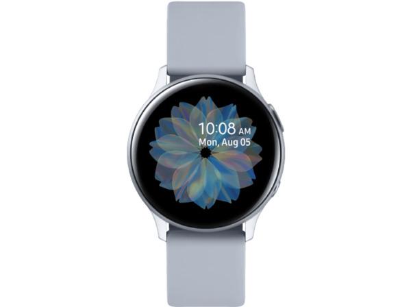 SAMSUNG Galaxy Watch Active2 Aluminium 40mm CS, Smartwatch, Fluorkautschuk, S/M, Cloud Silver