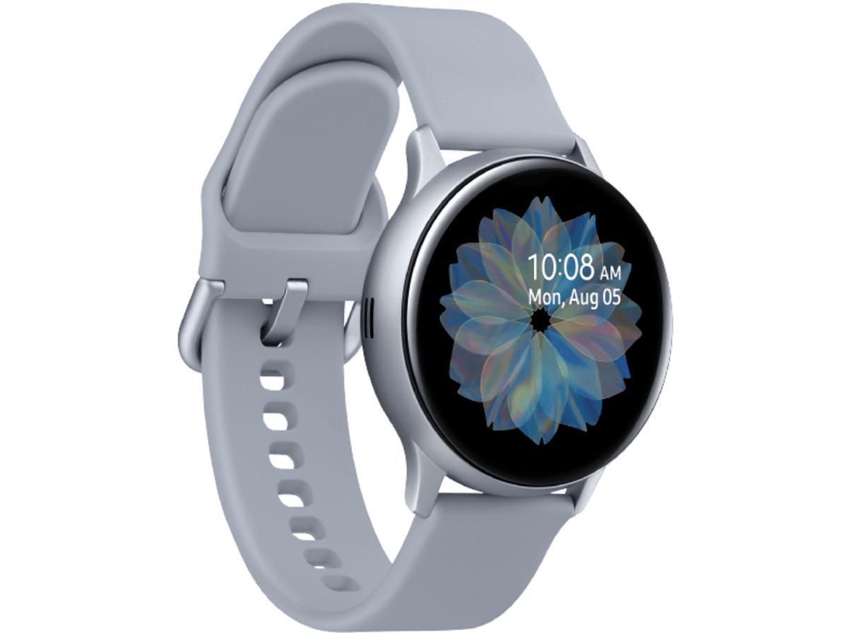 Bild 2 von SAMSUNG Galaxy Watch Active2 Aluminium 40mm CS, Smartwatch, Fluorkautschuk, S/M, Cloud Silver