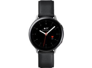 SAMSUNG Galaxy Watch Active2 Stainless Steel 44mm (LTE) SI, Smartwatch, Echtleder, M/L, Silver