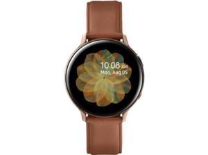 SAMSUNG Galaxy Watch Active2 Stainless Steel 44mm (LTE) GO, Smartwatch, Echtleder, M/L, Gold