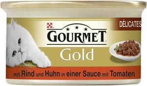 Purina Gourmet Katzenfutter Gold Délicatesse en Sauce mit Rind & Huhn in Tomatensauce ,  Inhalt: 85 g