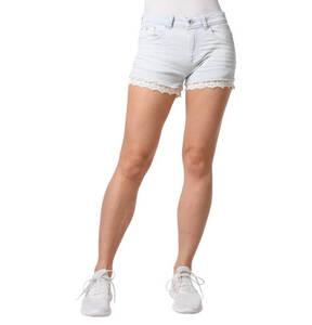 Superdry             Jeans-Shorts, streifen, floraler Häkel-Besatz