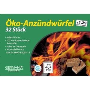 GERMANIA Grillanzünder Öko 32 Stück würfelförmig aus Holz und Wachs