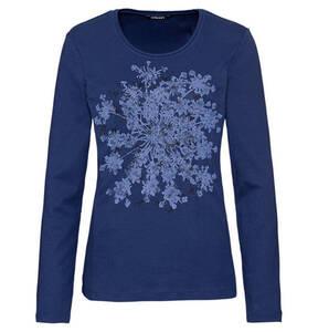 olsen             Langarmshirt, Baumwolle, florales Muster, Rundhalsausschnitt