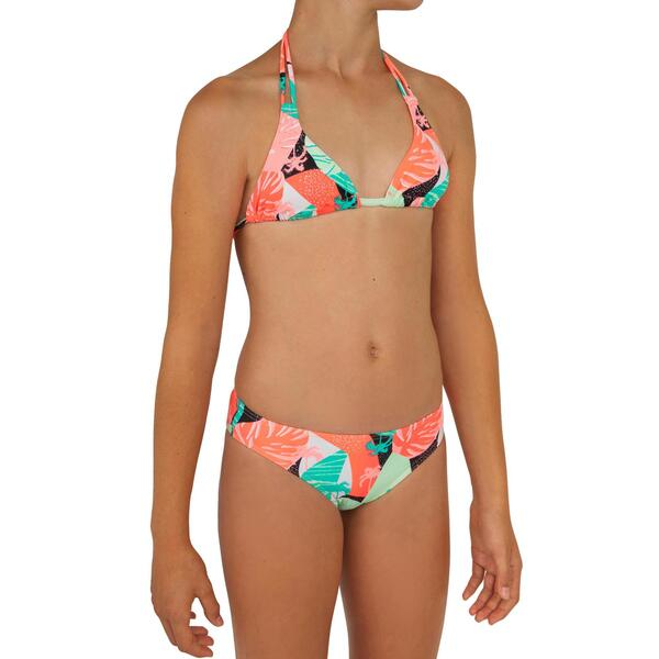 Bikini-Set Triangel Taloo Lilou Origami Surfen Mädchen neon-rosa