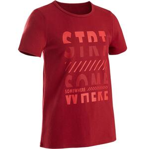 T-Shirt 100 Gym Kinder rot mit Print