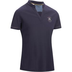 Poloshirt 500 Mesh Damen marineblau/grau