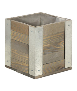 Holz-Pflanztopf, quadratisch, braun