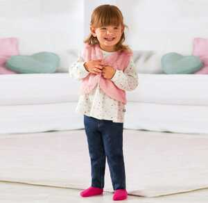 Baby-Mädchen-Set mit Weste, 3-teilig