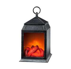 Kaminfeuer-Laterne mit Flammen-Effekt, ca. 16x14x27cm